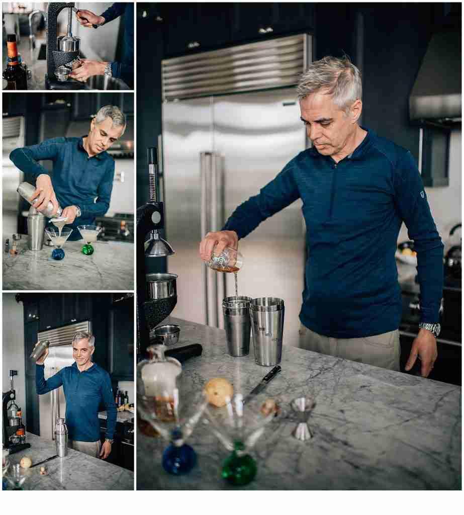 Man making cocktails